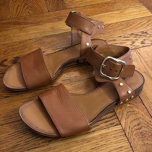 Franco Sarto Brown Ankle Strap Sandals